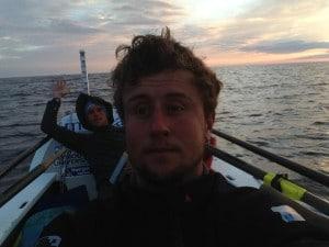 Josh Taylor with Alan Morgan, waving