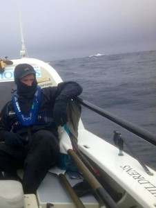 Gavin Sheehan on deck in the Irish Sea