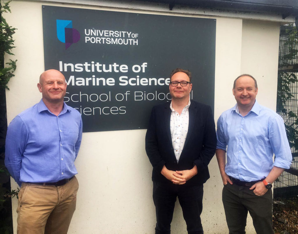 GB Row Director Jim Bastin meets with Professors Steve Fletcher and Alex Ford of the University of Portsmouth